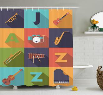Jazz Equipment Music Shower Curtain