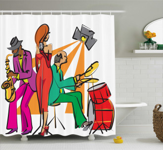 Jazz Band on Stage Shower Curtain