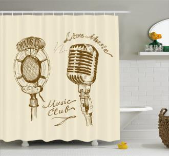 Boho Microphone Retro Shower Curtain