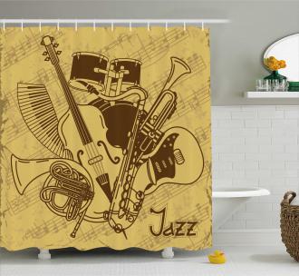 Jazz Music Equipments Shower Curtain