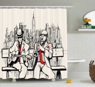 Beats in New York Night Shower Curtain