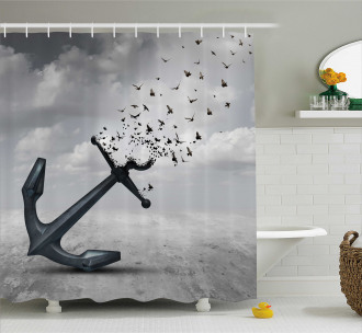 Flying Seagulls Grey Shower Curtain