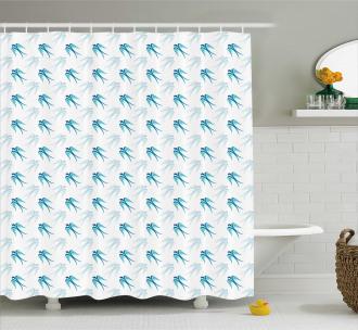 Flying Birds in Sky Shower Curtain