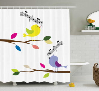 Colorful Mascots Singing Shower Curtain