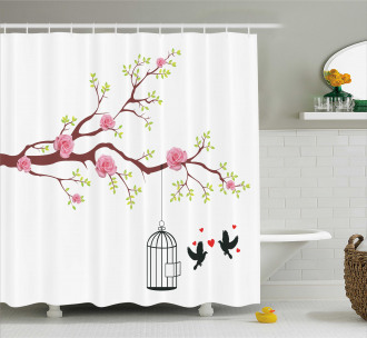 Roses Blossoms Birds Shower Curtain