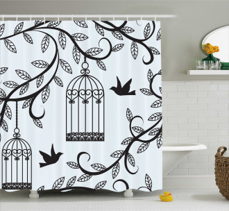 Branch of Floral Tree Shower Curtain