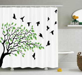 Flying Birds Spring Peace Shower Curtain