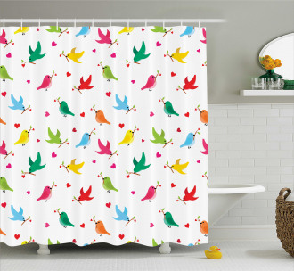 Heart Branches Colorful Shower Curtain