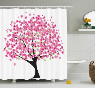 Cherry Blossom Floral Shower Curtain