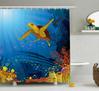 Coral Reef Fish Turtle Shower Curtain