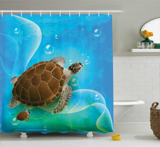 Swimming Turtle Family Shower Curtain