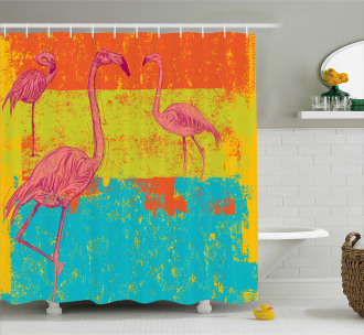 Retro Vintage Flamingo Shower Curtain