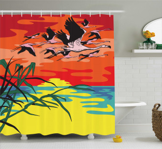 Birds in the Air Art Shower Curtain