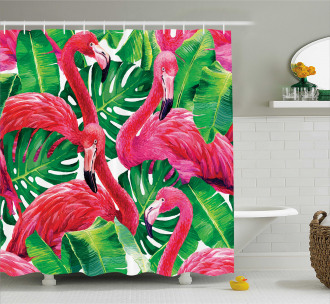 Retro Exotic Leaves Shower Curtain