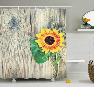 Wood Board Bouquet Shower Curtain