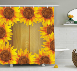 Flower Frame Circle Shower Curtain