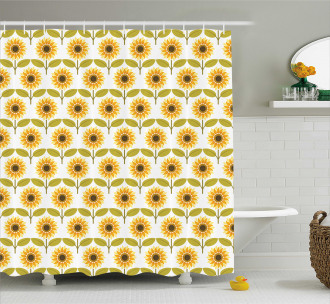 Sunflowers Retro Country Shower Curtain