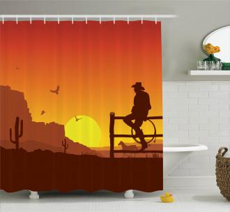 Wild West Sunset Scene Shower Curtain
