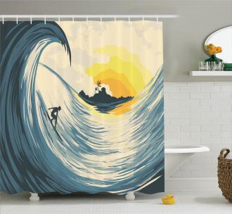 Cloudy Tropical Island Shower Curtain