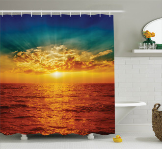 Sunset Seaside Clouds Shower Curtain