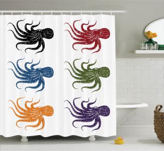 Grunge Underwater Life Shower Curtain