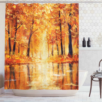 Forest Lake Fall Trees Shower Curtain