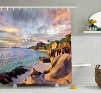 Rock Sandy Beach Island Shower Curtain