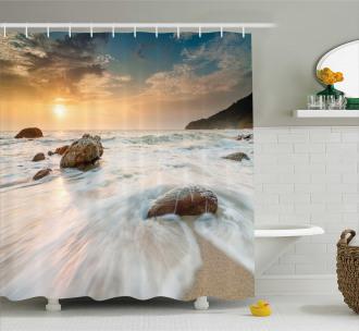 Beach and Horizon Sky Shower Curtain