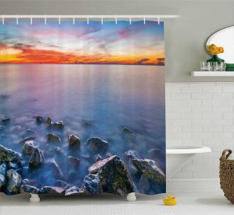 Sunrise Horizon Calm Waves Shower Curtain
