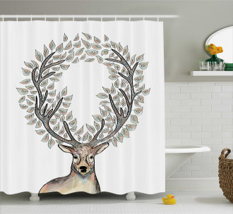 Myth Animal Reindeer Shower Curtain