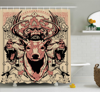 Floral Skull and Wolves Shower Curtain