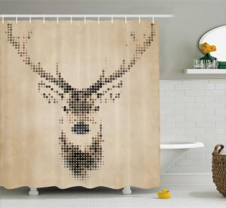 Deer Portrait with Dots Shower Curtain