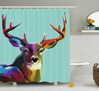 Retro Low Poly Deer Shower Curtain