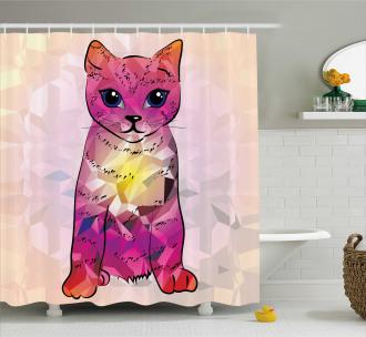 Retro Digital Robot Cat Shower Curtain