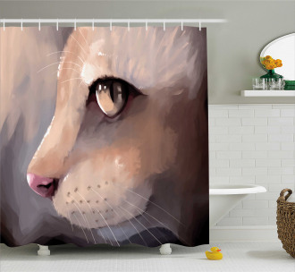 Portrait Kitty Cat Meow Shower Curtain
