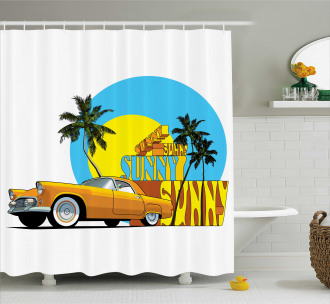 Vintage Car in City Miami Shower Curtain