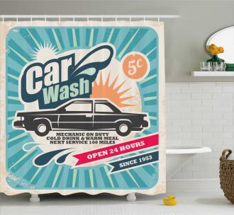 Vintage Auto Repair Art Shower Curtain