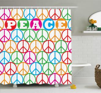 Peace Symbol Letters Shower Curtain