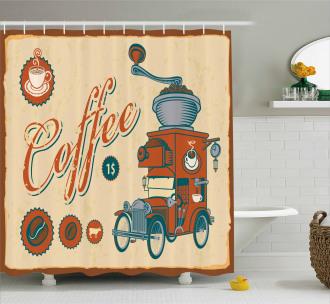 Truck Coffee Grinder Shower Curtain