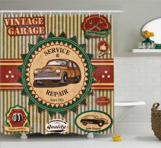 Old Sixties Car Pop Art Shower Curtain
