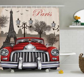 Parisian City Scenery Shower Curtain
