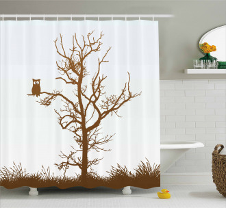 Owl Autumn Tree Branch Shower Curtain