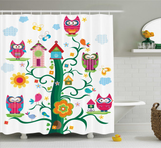 Owls on Tree with Dots Shower Curtain