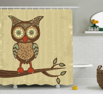 Owl Sitting on Branch Shower Curtain