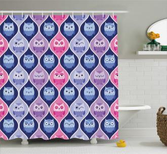 Vertical Sleeping Owls Shower Curtain