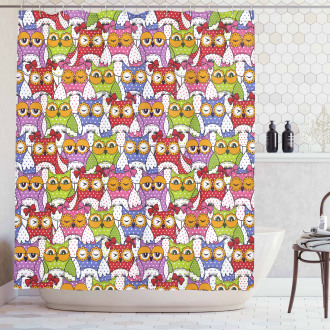 Ornate Owl Polka Dots Shower Curtain