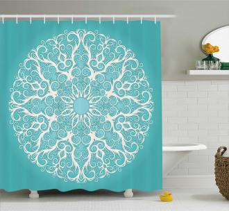 Symmetrical Floral Curves Shower Curtain