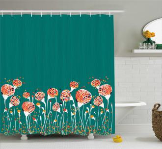 Modern Spring Flowers Shower Curtain