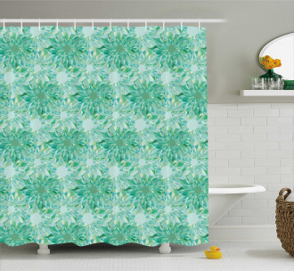 Floral Pattern With Beryl Shower Curtain