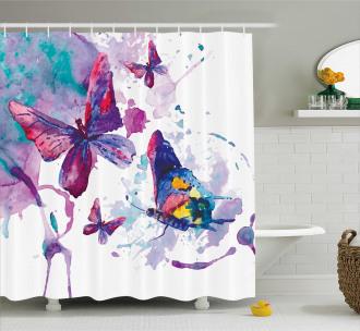 Watercolor Art Modern Shower Curtain